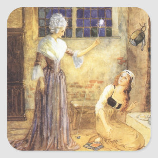 Vintage Fairy Tale, Cinderella and Fairy Godmother Square Sticker