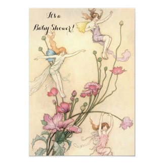 Vintage Fairy Tale Cute Girl Baby Shower Party Card