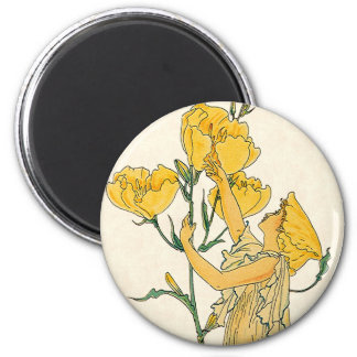 Vintage Fairy Tale, Evening Primrose, Walter Crane 2 Inch Round Magnet