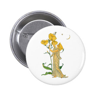 Vintage Fairy Tale, Evening Primrose, Walter Crane Button