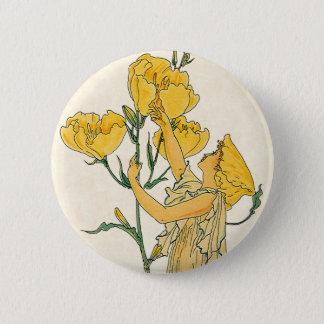 Vintage Fairy Tale, Evening Primrose, Walter Crane Pinback Button