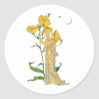 Vintage Fairy Tale, Evening Primrose, Walter Crane Sticker