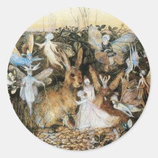 Vintage Fairy Tale Fairy Twilight, John Fitzgerald Classic Round Sticker