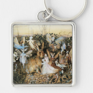 Vintage Fairy Tale Fairy Twilight, John Fitzgerald Silver-Colored Square Keychain
