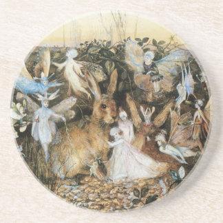 Vintage Fairy Tale Fairy Twilight, John Fitzgerald Sandstone Coaster