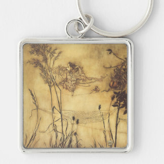 Vintage Fairy Tale, Fairy's Tightrope by Rackham Silver-Colored Square Keychain