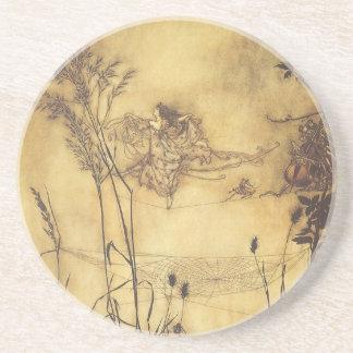 Vintage Fairy Tale, Fairy's Tightrope by Rackham Sandstone Coaster