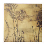 Vintage Fairy Tale, Fairy's Tightrope by Rackham Small Square Tile