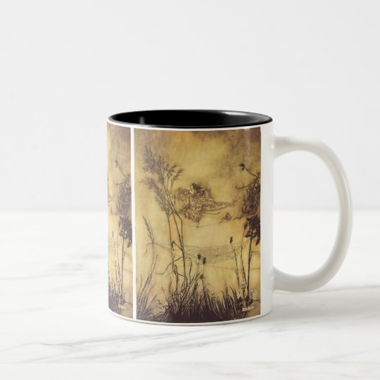 Vintage Fairy Tale, Fairy's Tightrope by Rackham Two-Tone Coffee Mug