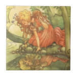 Vintage Fairy Tale, Frog Prince Princess by Pond Ceramic Tile