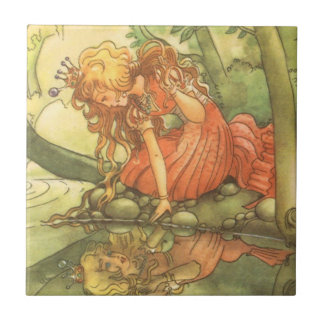 Vintage Fairy Tale, Frog Prince Princess by Pond Ceramic Tile