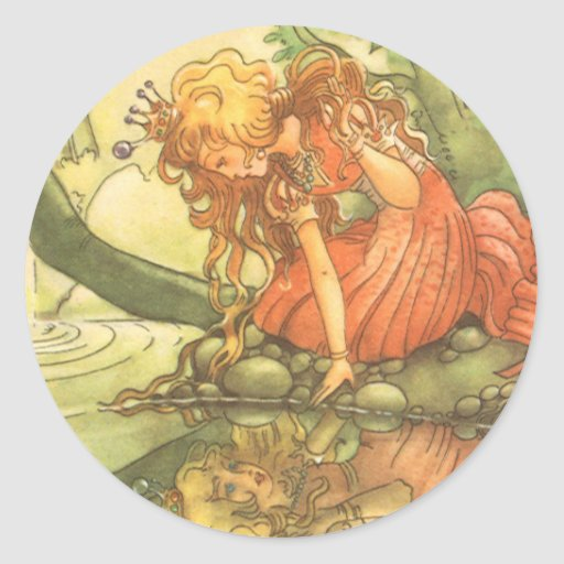 Vintage Fairy Tale, Frog Prince Princess by Pond Classic Round Sticker