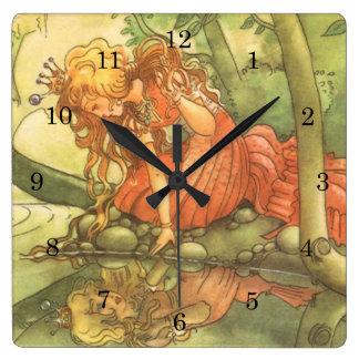 Vintage Fairy Tale, Frog Prince Princess by Pond Square Wallclock