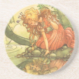 Vintage Fairy Tale, Frog Prince Princess by Pond Coaster