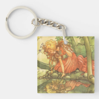Vintage Fairy Tale, Frog Prince Princess by Pond Double-Sided Square Acrylic Keychain
