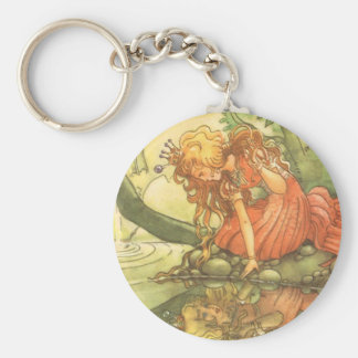 Vintage Fairy Tale, Frog Prince Princess by Pond Basic Round Button Keychain