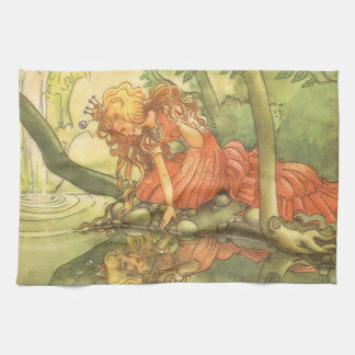 Vintage Fairy Tale, Frog Prince Princess by Pond Kitchen Towel