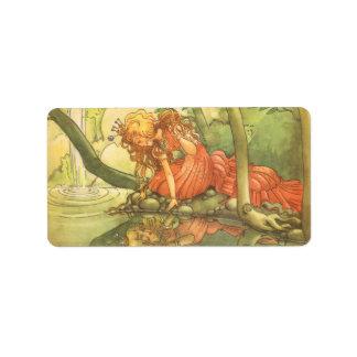 Vintage Fairy Tale, Frog Prince Princess by Pond Address Label