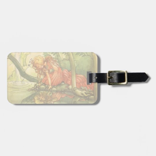 Vintage Fairy Tale, Frog Prince Princess by Pond Luggage Tag