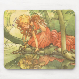 Vintage Fairy Tale, Frog Prince Princess by Pond Mouse Pad