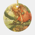 Vintage Fairy Tale, Frog Prince Princess by Pond Double-Sided Ceramic Round Christmas Ornament