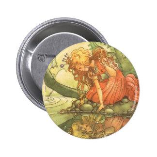 Vintage Fairy Tale, Frog Prince Princess by Pond Pinback Button