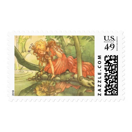 Vintage Fairy Tale, Frog Prince Princess by Pond Postage Stamp
