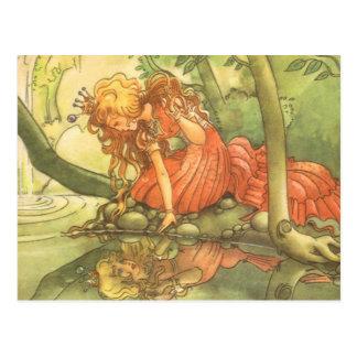 Vintage Fairy Tale, Frog Prince Princess by Pond Postcard