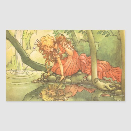 Vintage Fairy Tale, Frog Prince Princess by Pond Rectangular Sticker