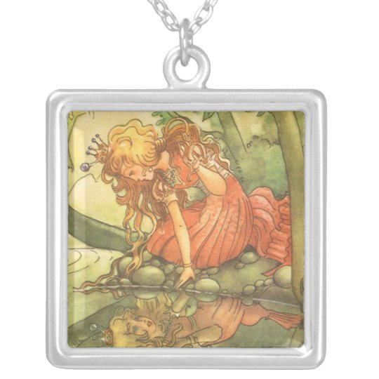 Vintage Fairy Tale, Frog Prince Princess by Pond Silver Plated Necklace