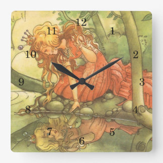 Vintage Fairy Tale, Frog Prince Princess by Pond Square Wall Clock