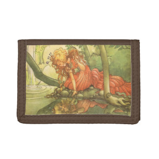 Vintage Fairy Tale, Frog Prince Princess by Pond Trifold Wallet