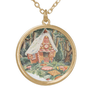 Vintage Fairy Tale, Hansel and Gretel Candy House Gold Plated Necklace