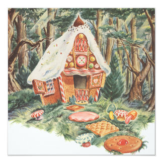 Vintage Fairy Tale, Hansel and Gretel Candy House Customized Invitation Card