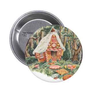Vintage Fairy Tale, Hansel and Gretel Candy House Pinback Button