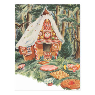 Vintage Fairy Tale, Hansel and Gretel Candy House Postcard