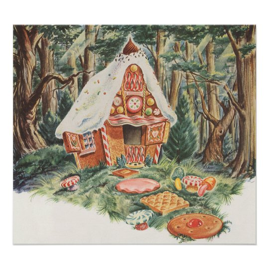 Vintage Fairy Tale, Hansel and Gretel Candy House Poster