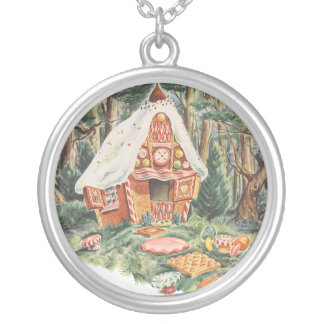 Vintage Fairy Tale, Hansel and Gretel Candy House Silver Plated Necklace
