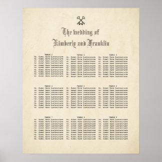Vintage Fairy Tale Keys Wedding Seating Chart