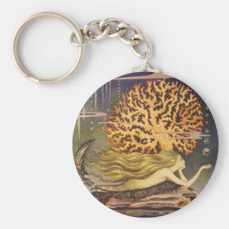 Vintage Fairy Tale, Little Mermaid in Ocean Coral Basic Round Button Keychain