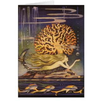 Vintage Fairy Tale, Little Mermaid in Ocean Coral Card