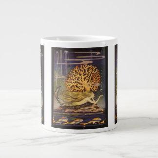 Vintage Fairy Tale, Little Mermaid in Ocean Coral Giant Coffee Mug