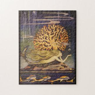 Vintage Fairy Tale, Little Mermaid in Ocean Coral Jigsaw Puzzle