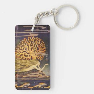 Vintage Fairy Tale, Little Mermaid in Ocean Coral Rectangular Acrylic Keychains