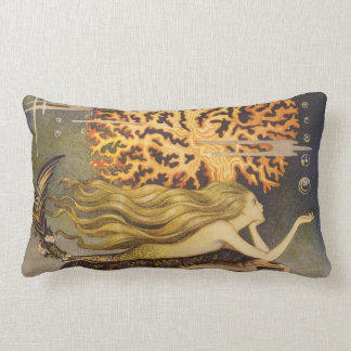 Vintage Fairy Tale, Little Mermaid in Ocean Coral Lumbar Pillow