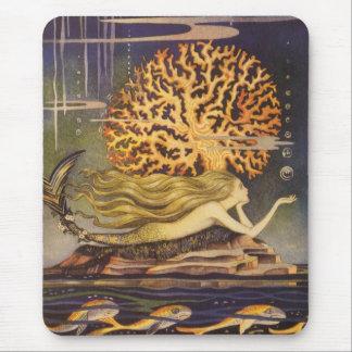 Vintage Fairy Tale, Little Mermaid in Ocean Coral Mouse Pad