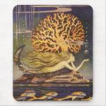 Vintage Fairy Tale, Little Mermaid in Ocean Coral Mousepad