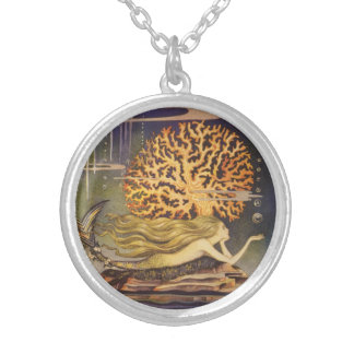 Vintage Fairy Tale, Little Mermaid in Ocean Coral Round Pendant Necklace