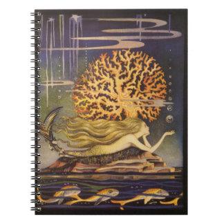 Vintage Fairy Tale, Little Mermaid in Ocean Coral Notebook