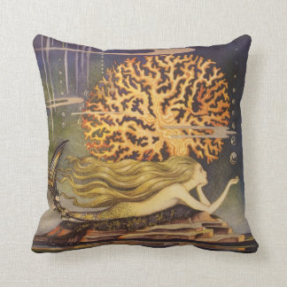 Vintage Fairy Tale, Little Mermaid in Ocean Coral Throw Pillow